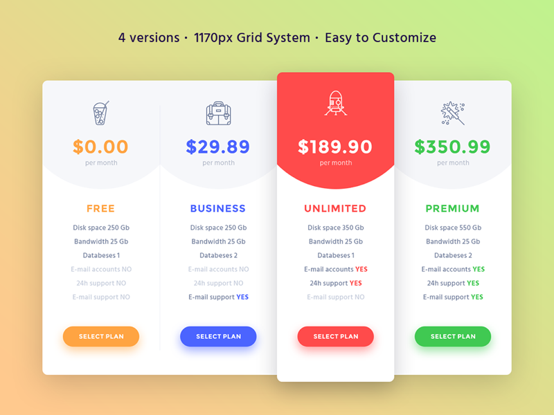 4 pricing tables uplabs for Table design jquery ui