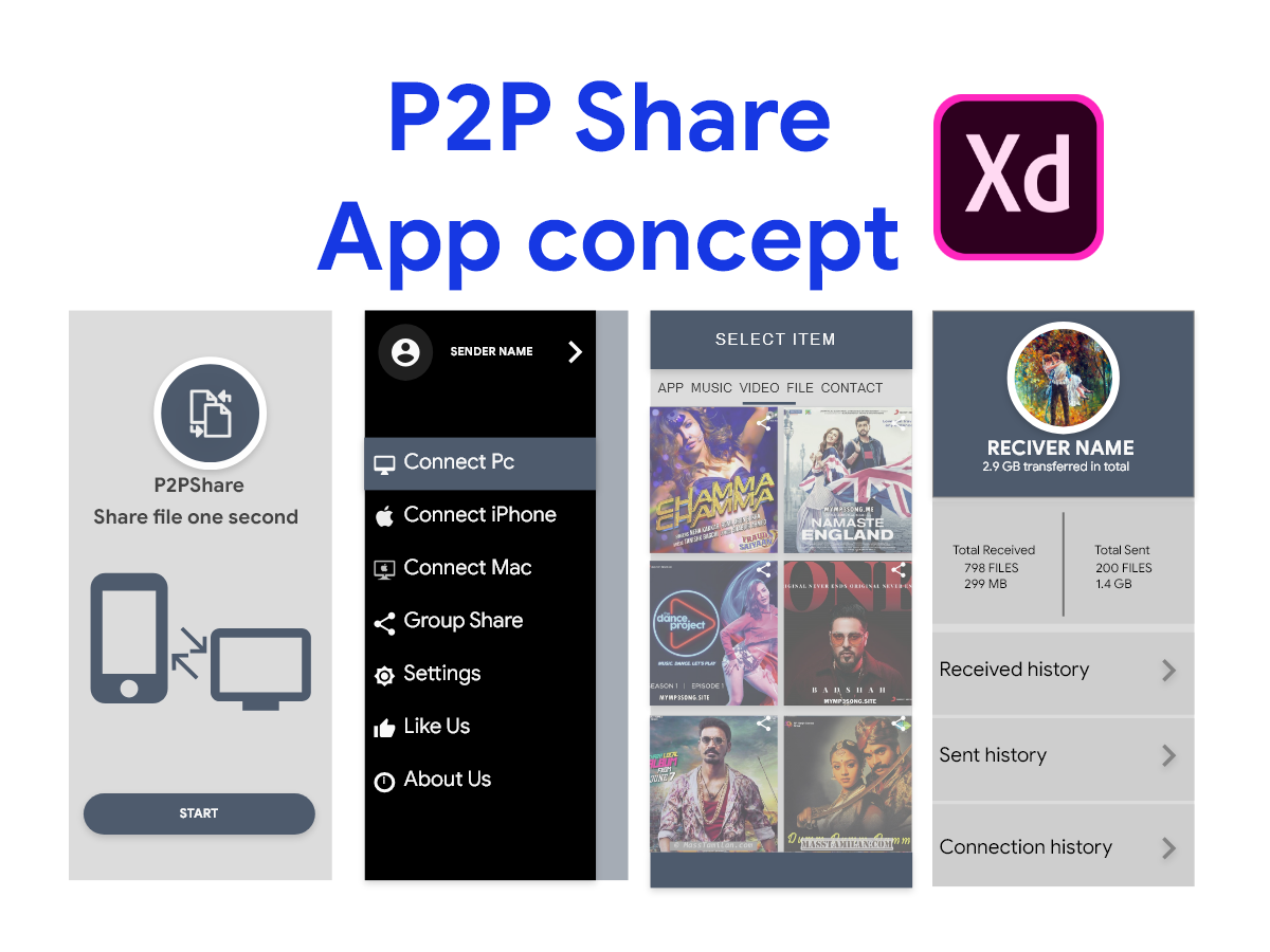 P2P Files Sharing app UI concept - UpLabs