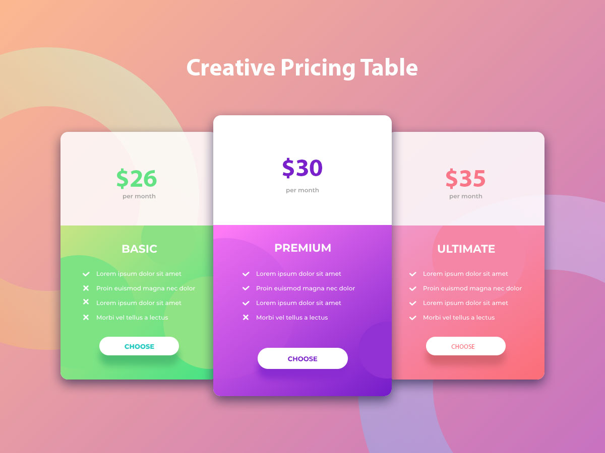 Price Table UI Design Free | Web Price Table PSD, Adobe XD - UpLabs
