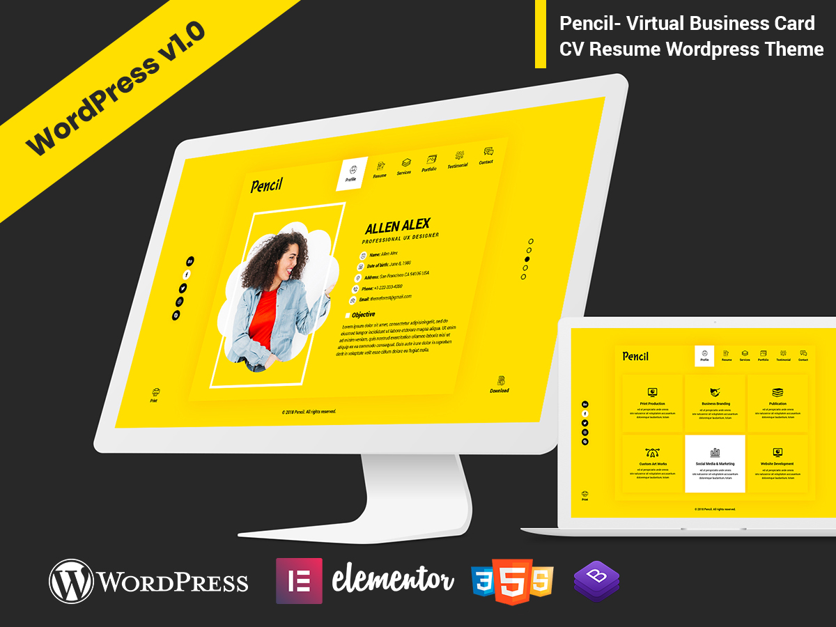 Pencil virtual business card cv resume html template