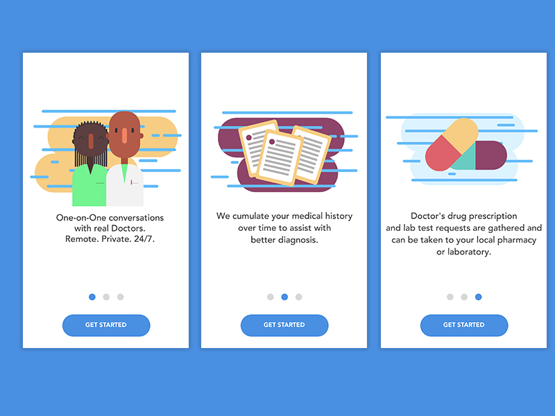 Onboarding design for mobidoc app uplabs for Picture decorating apps