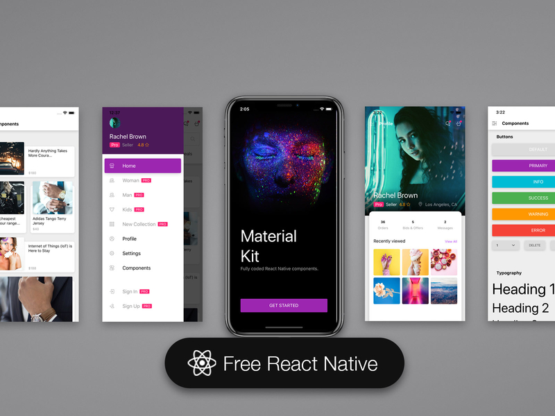 Material Kit React Native Free | Search by Muzli