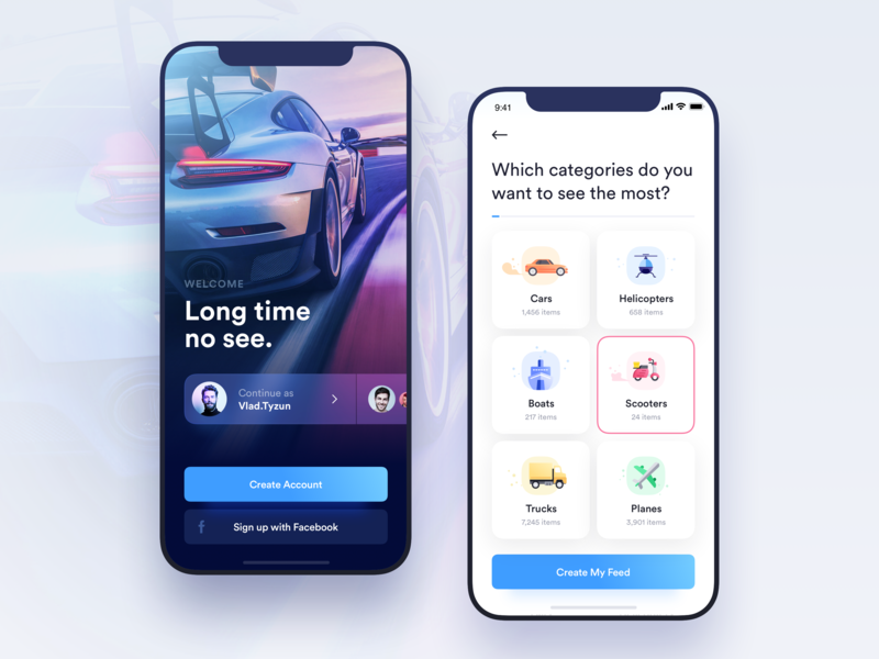Car Rental App - Welcome and Onboarding screens - UpLabs