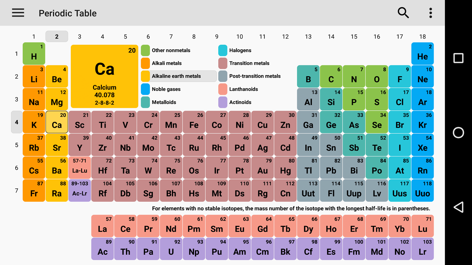 periodic table android app - uplabs